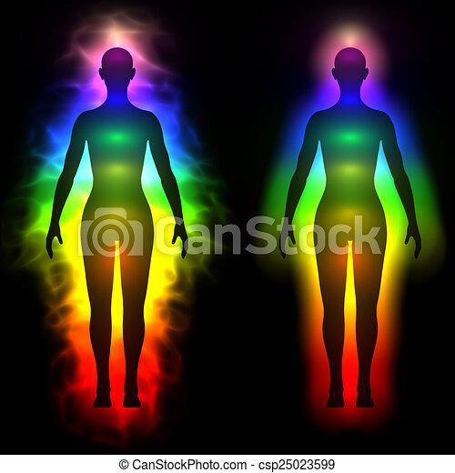 Regenbogen Aura der Frau - Silhouette - csp25023599