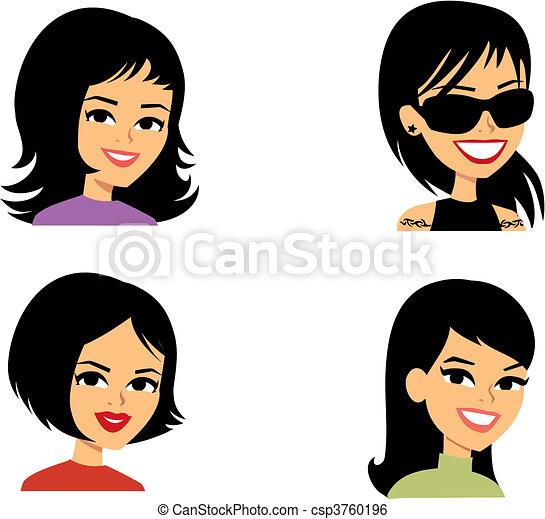 Cartoon-Avatar Portrait-Frauen - csp3760196