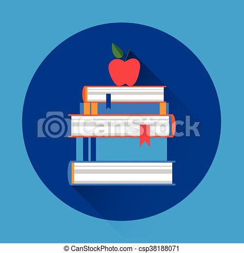 Bücher stapeln bunte Ikonen. - csp38188071