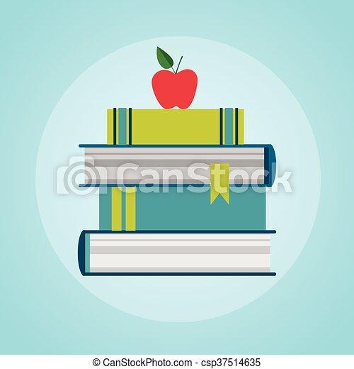 Bücher stapeln bunte Ikonen. - csp37514635