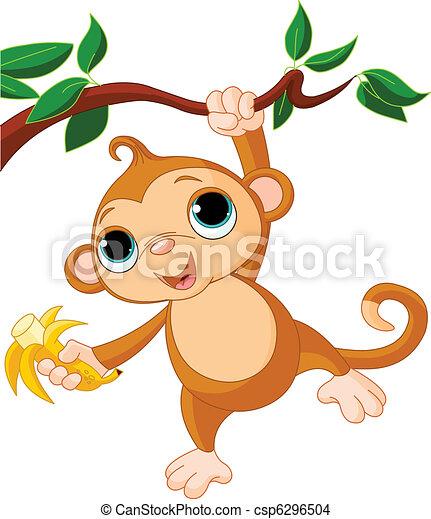 Baby-Affe auf einem Baum. - csp6296504