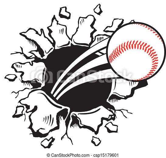 Ball bricht die Wand - csp15179601