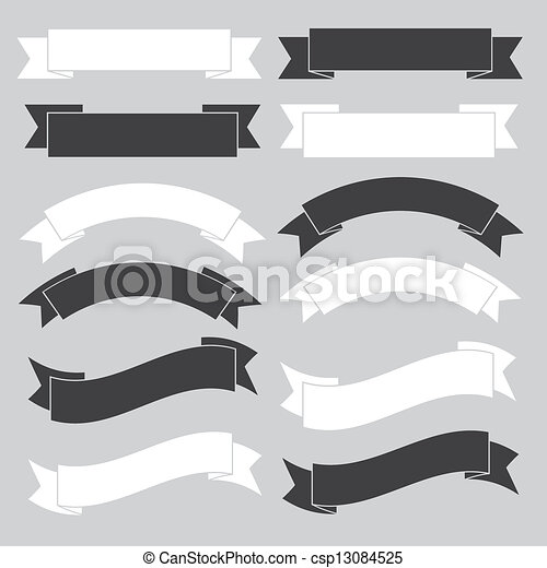 Ein altes Bandransparent, schwarz und weiß. - csp13084525