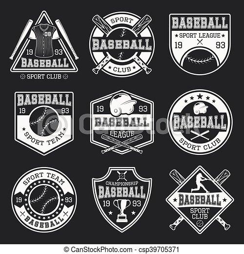 Baseball-Monochrom-Logos. - csp39705371