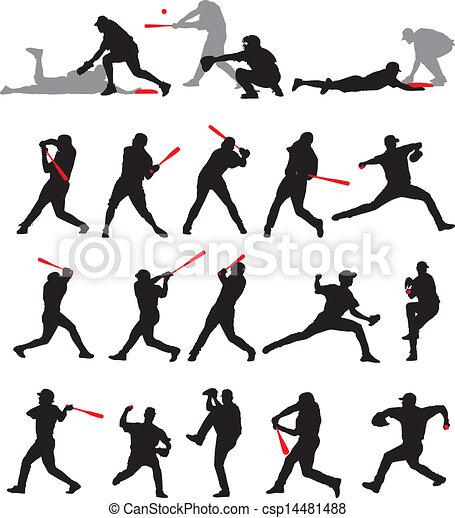 Baseball stellt Silhouette. - csp14481488