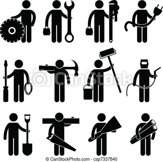 Bauarbeiterjob Icon pictog - csp7337840