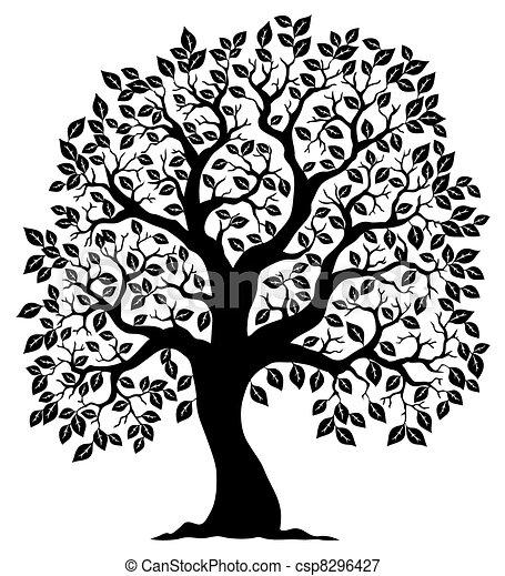 Baum geformt, Silhouette 3 - csp8296427