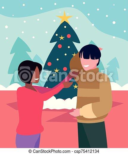 baum, paar, szene, weihnachten - csp75412134