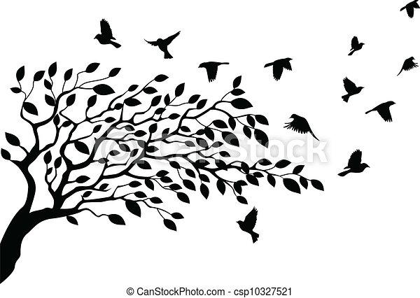 Baum und Vogelschwalbe - csp10327521