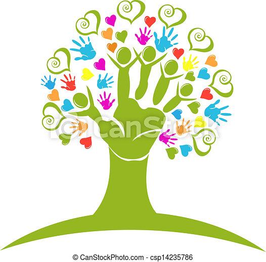 Baumhände und Herzen sind Logo - csp14235786
