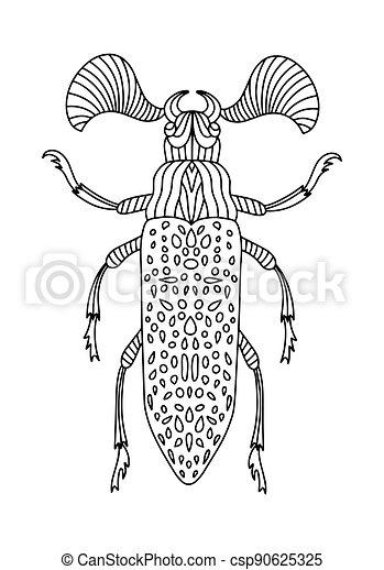beetles., insekt, käfer, anti-stress, children., abbildung, vektor, fanous, buch, färbung, erwachsene - csp90625325