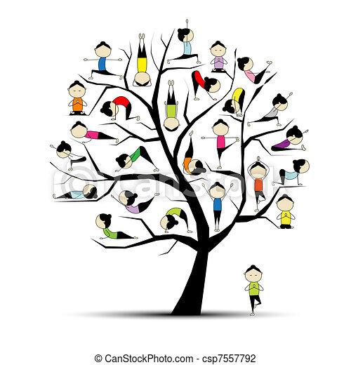 Yogatraining, Baumkonzept für dein Design - csp7557792