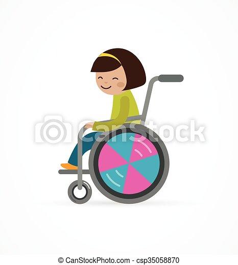 Behindertes Kind, Mädchen im Rollstuhl. - csp35058870