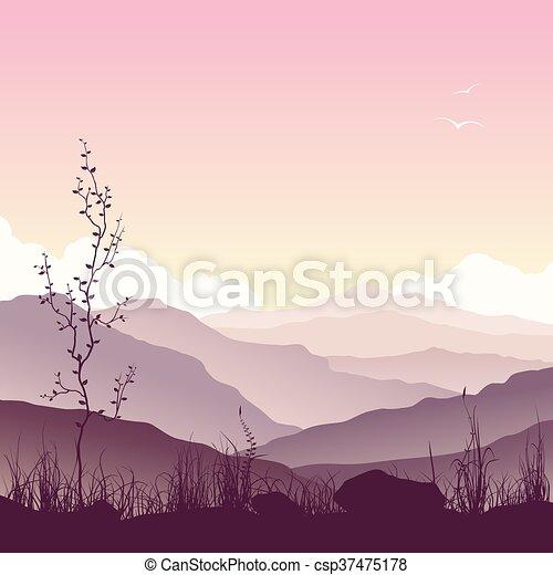 Berglandschaft mit Gras und Baum - csp37475178