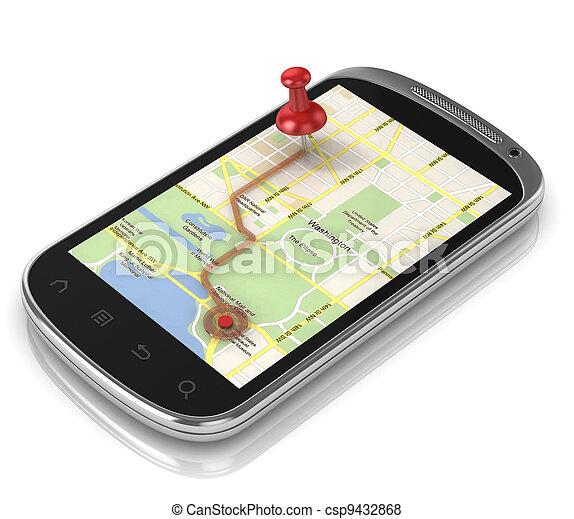 beweglich, -, telefon, schifffahrt, klug, gps - csp9432868