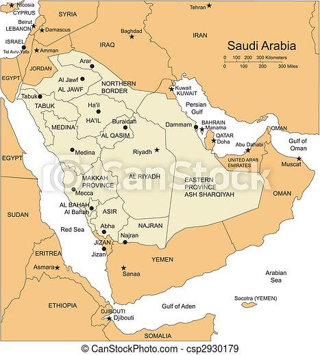 Saudi-Arabien, Verwaltungsbezirke, Hauptstädte und umliegende Länder - csp2930179