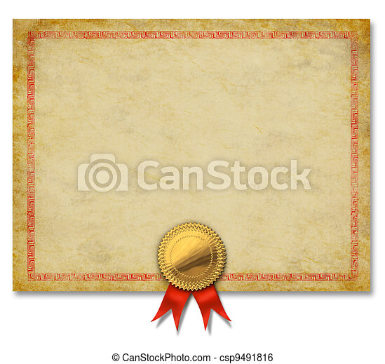 Blanke Urkunde mit goldenem Crestband. - csp9491816