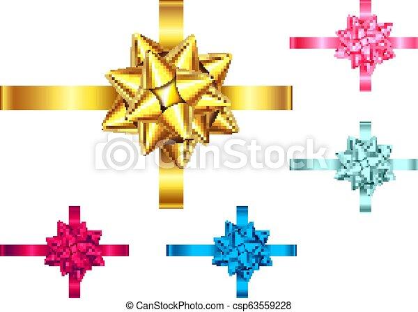 Blau, rot, rosa, goldenes Geschenkband und Bogen. - csp63559228