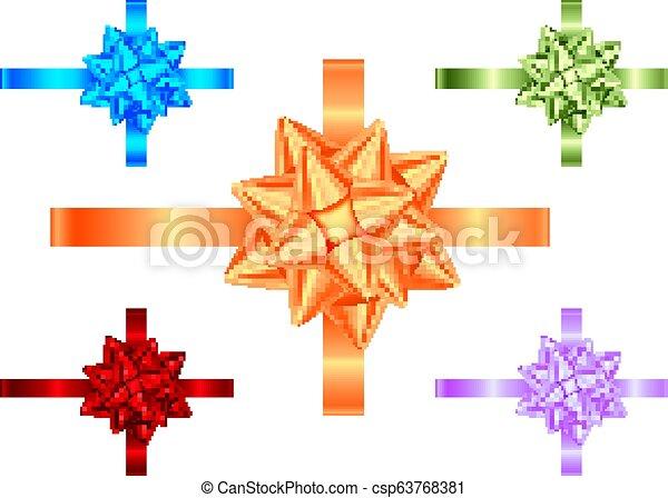 Blau, Violett, Grün, Orange, rote Geschenkbänder und Bogensammlung. - csp63768381