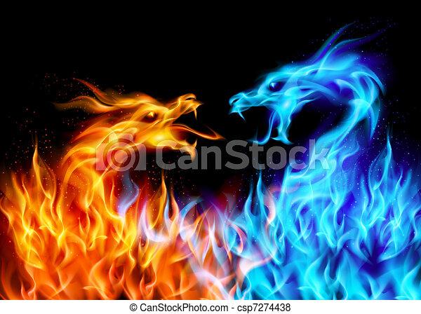 Blaue und rote Feuerdrachen - csp7274438