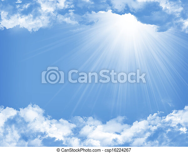 Blauer Himmel mit Wolken und Sonne - csp16224267