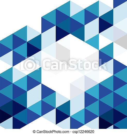 Blaues geometrisches Musterbild. Vector abstrakter Hintergrund - csp12246620