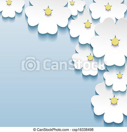 Blauer, grauer, abstrakter Hintergrund, dreid Blumen sakura - csp16338498