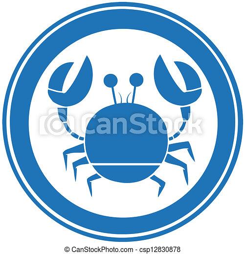 Blauer Kreis Krabbenlogo - csp12830878
