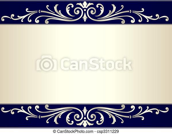 blaues, weinlese, rolle, beiger hintergrund, silber - csp3311229