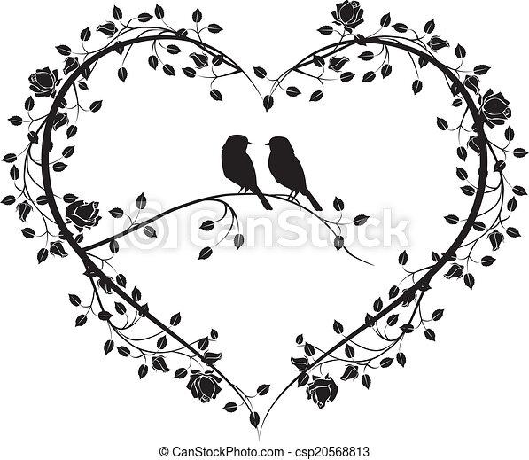 Vögel mit einem Herzen von Blumen 4 - csp20568813