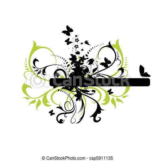 blumen-, grunge, banner - csp5911135