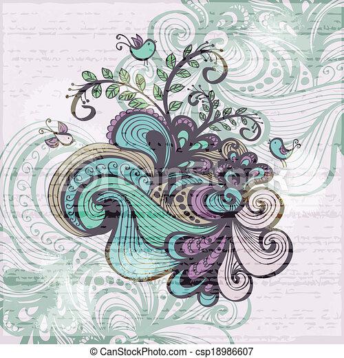 Floral grunge Hintergrund - csp18986607