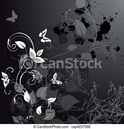 blumen-, grunge, vlinders, design - csp4237568