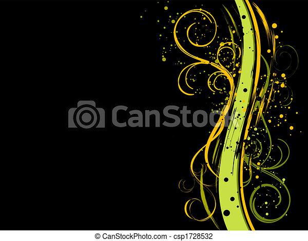 Schwarzer Grunge-Foral-Hintergrund - csp1728532