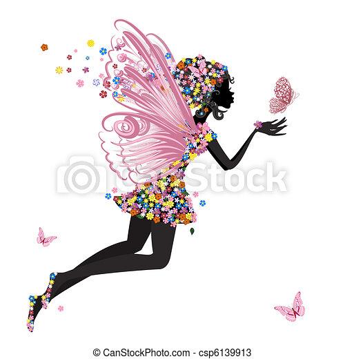 Blumenfee mit Schmetterling - csp6139913