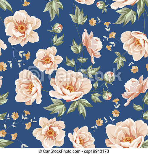 Blumenfliesenmuster. - csp19948173