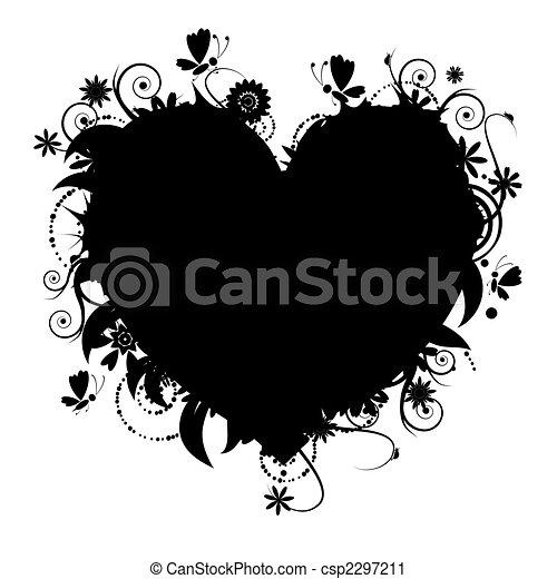 Blumenherzform für dein Design - csp2297211