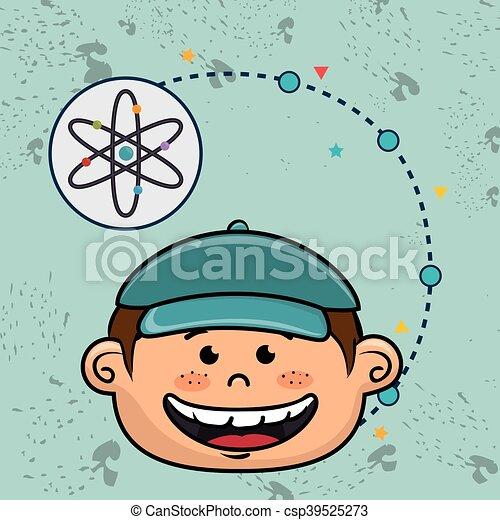 Boy Cartoon Atom Ikone. - csp39525273
