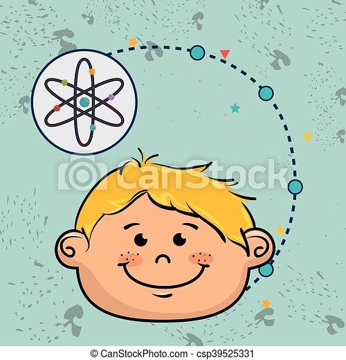 Boy Cartoon Atom Ikone. - csp39525331