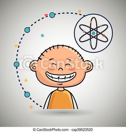 Boy Cartoon Atom Ikone. - csp39523520