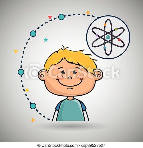 Boy Cartoon Atom Ikone. - csp39523527