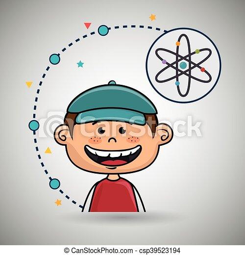 Boy Cartoon Atom Ikone. - csp39523194