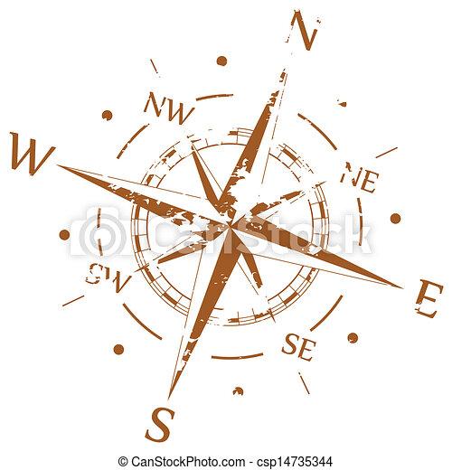 Brauner Grunge Vektorkompass - csp14735344