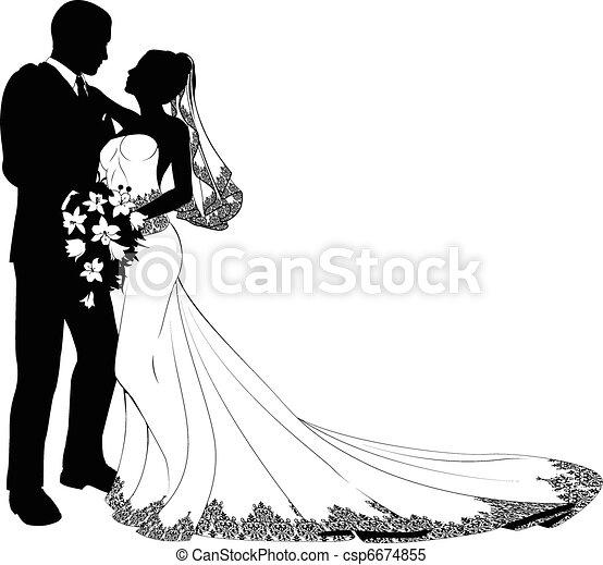 Braut und Bräutigam Silhouette - csp6674855