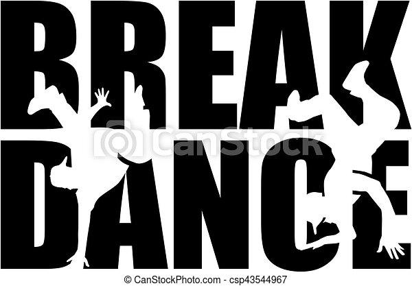 Breakdance Wort mit Ausschnitt Silhouette. - csp43544967