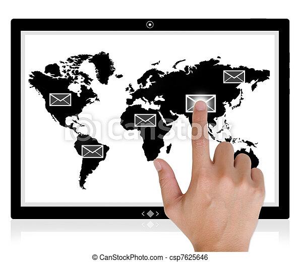 breit, tablette, button, schiebt, hand, pc, schnittstelle, edv, berühren, world., schirm, am besten - csp7625646