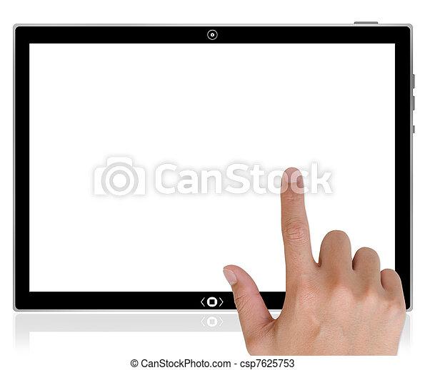 breit, tablette, button, schiebt, hand, pc, schnittstelle, edv, berühren, world., schirm, am besten - csp7625753