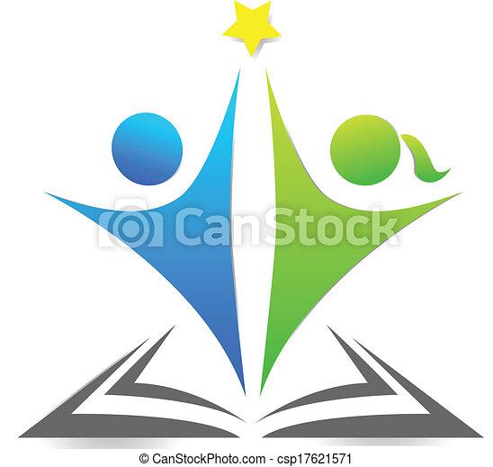 Buch und Kinder Logo. - csp17621571