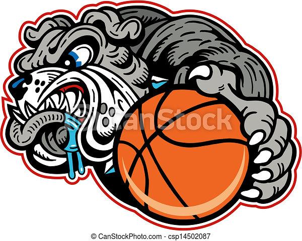 Bulldog mit Basketball - csp14502087