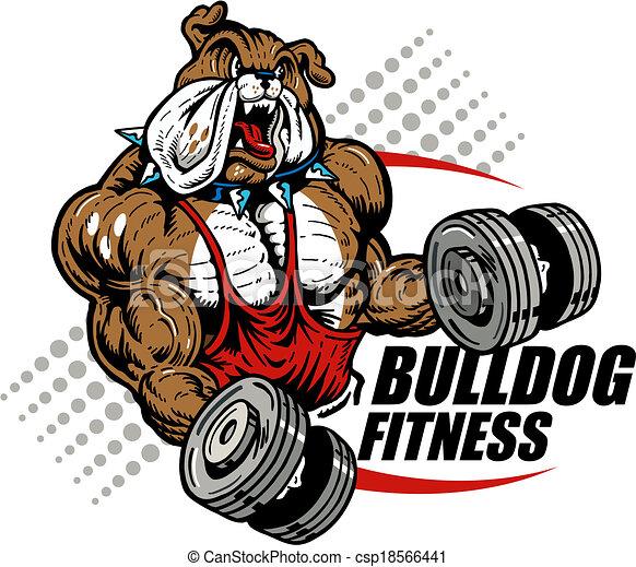 Bulldog mit Dummköpfen. - csp18566441